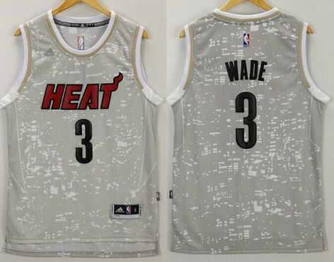 brand new d7811 581dc Men s Miami Heat  3 Dwyane Wade Adidas 2015 Gray City Lights Swingman Jersey