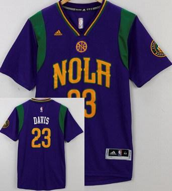 Men's New Orleans Pelicans #23 Anthony Davis Revolution 30 Swingman 2015-16  Purple Short-Sleeved Jersey