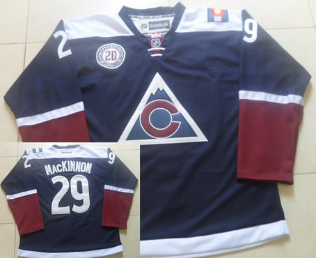 2c11e1bf235 Men's Colorado Avalanche #29 Nathan MacKinnon Reebok Navy Blue 20th Alternate  Premier Jersey