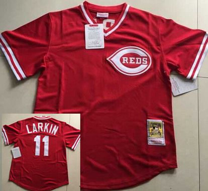super popular 88eac 6ac1b Men's Cincinnati Reds #11 Barry Larkin Mesh BP Red Throwback ...