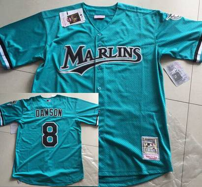 a5054a1e866 Men s Florida Marlins  8 Andre Dawson Mesh BP Teal Green Throwback Jersey