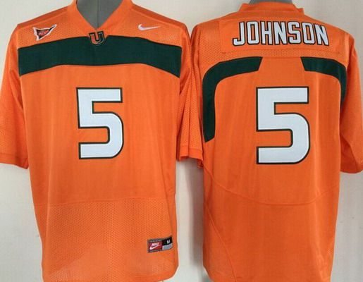 Men's Miami Hurricanes #5 Andre Johnson Orange NCAA Football Nike Jersey