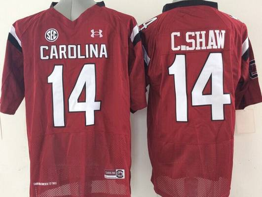 Men's South Carolina Gamecocks #14 Connor Shaw Red NCAA Football Under Armour Jersey