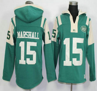 Men's New York Jets #15 Brandon Marshall Green Team Color 2015 NFL Hoodie