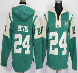 Men's New York Jets #24 Darrelle Revis Green Team Color 2015 NFL Hoodie