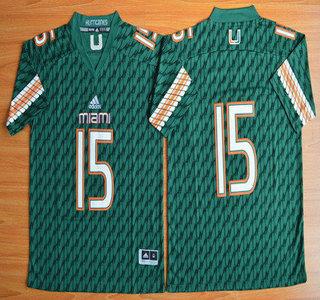 Miami Hurricanes #15 Brad Kaaya Green 2015 College Football Jersey