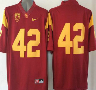 USC Trojans #42 Red 2015 College Football Nike Limited Jersey