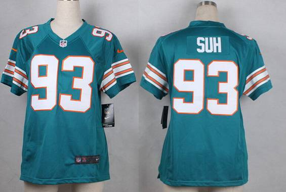 Hot Women's Miami Dolphins #93 Ndamukong Suh Aqua Green Alternate 2015  free shipping