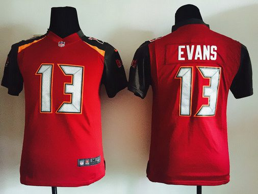 43da5970bbb Youth Tampa Bay Buccaneers  13 Mike Evans Red Team Color NFL Nike Game  Jersey