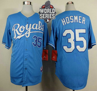 Men's Kansas City Royals #35 Eric Hosmer Light Blue Alternate Baseball Jersey With 2015 World Series Patch