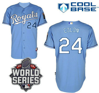 Men's Kansas City Royals #24 Christian Colon Light Blue Alternate Baseball Jersey With 2015 World Series Patch