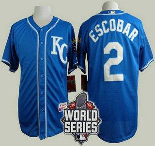 Men's Kansas City Royals #2 Alcides Escobar KC Blue Alternate Baseball Jersey With 2015 World Series Patch