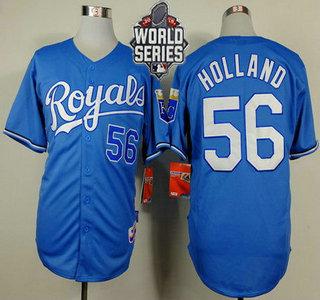 Men's Kansas City Royals #56 Greg Holland Light Blue Alternate Baseball Jersey With 2015 World Series Patch