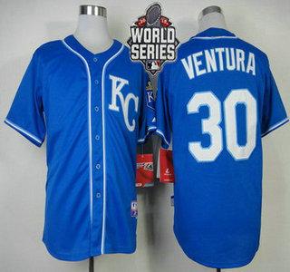Men's Kansas City Royals #30 Yordano Ventura KC Blue Alternate Baseball Jersey With 2015 World Series Patch