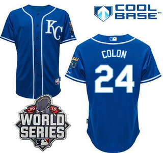 Men's Kansas City Royals #24 Christian Colon KC Blue Alternate Baseball Jersey With 2015 World Series Patch