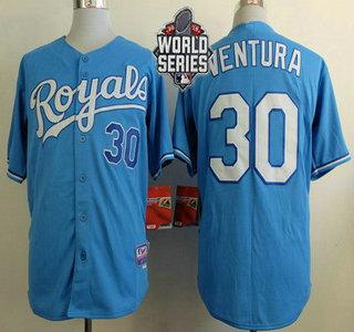 Men's Kansas City Royals #30 Yordano Ventura Light Blue Alternate Baseball Jersey With 2015 World Series Patch