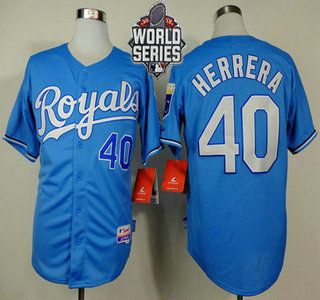 Men's Kansas City Royals #40 Kelvin Herrera Light Blue Alternate Baseball Jersey With 2015 World Series Patch