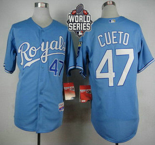 Men's Kansas City Royals #47 Johnny Cueto Light Blue Alternate Baseball Jersey With 2015 World Series Patch