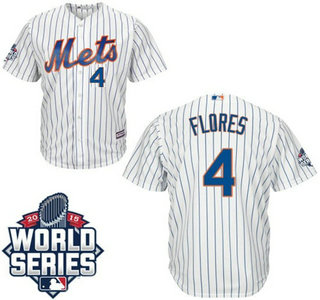 Men's New York Mets #4 Wilmer Flores Home Authentic Cool Base Jersey with 2015 World Series Participant Patch