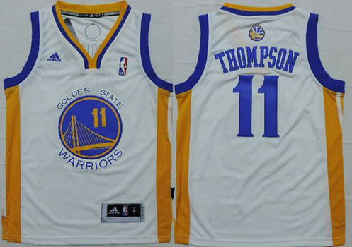 online retailer 2ae46 ac1b5 Youth Golden State Warriors #11 Klay Thompson White NBA ...