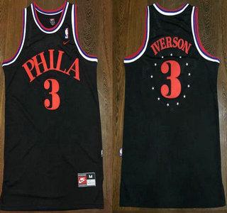 Men's Philadelphia Sixers #3 Allen Iverson 1964 Black Hardwood Classics Soul Swingman Throwback Jersey