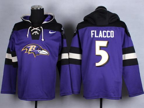Men's Baltimore Ravens #5 Joe Flacco Purple Team Color 2014 NFL Nike Hoodie