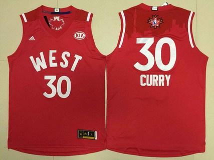 2015-16 NBA Western All-Stars Men's #30 Stephen Curry Revolution 30 Swingman Red Jersey