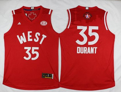 2015-16 NBA Western All-Stars Men's #35 Kevin Durant Revolution 30 Swingman Red Jersey