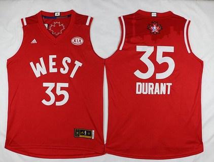 2015-16 NBA Western All-Stars Men's #35 Kevin Durant Revolution 30 Swingman Red Jersey