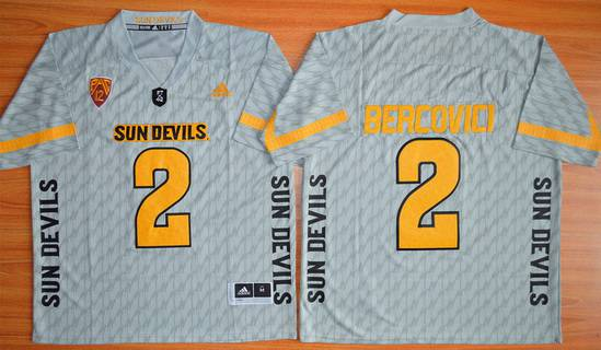 Men's Arizona State Sun Devils #2 Mike Bercovici Gray Desert Ice 2015 College Football Jersey