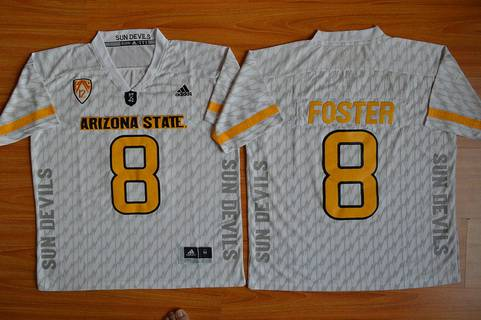 Men's Arizona State Sun Devils #8 D.J. Foster White Desert Ice 2015 College Football Jersey
