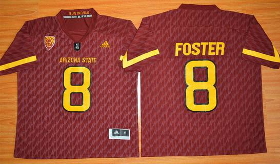 Men's Arizona State Sun Devils #8 D.J. Foster Red Desert Ice 2015 College Football Jersey