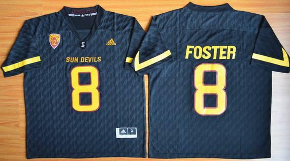 Men's Arizona State Sun Devils #8 D.J. Foster Black Desert Ice 2015 College Football Jersey