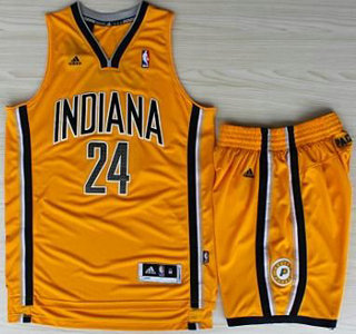 04bd7dd6e2c Indiana Pacers 24 Paul George Yellow Revolution 30 Swingman NBA Jerseys  Shorts Suits