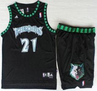 Minnesota Timberwolves  21 Kevin Garnett Black Hardwood Classics Revolution  30 Jersey Short Suits d977f5266