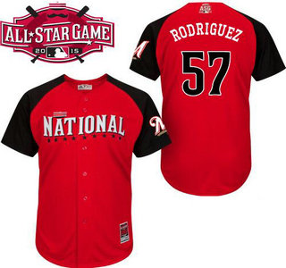 National League Milwaukee Brewers #57 Francisco Rodriguez 2015 MLB All-Star Red Jersey