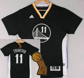 Golden State Warriors #11 Klay Thompson Revolution 30 Swingman 2014 New Black Short-Sleeved Jersey With 2015 Finals Champions Patch