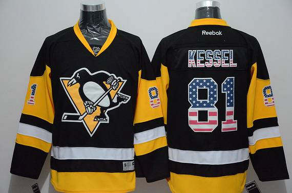 e15aff92b Men s Pittsburgh Penguins  81 Phil Kessel Reebok Black Third NHL USA Flag  Fashion Jersey