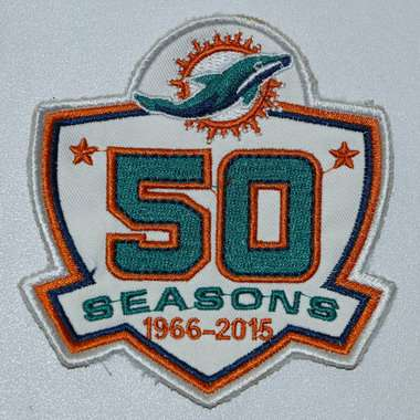 2015 Miami Dolphins 50th Anniversary Patch-White