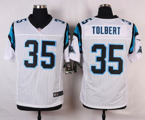 big sale c1429 adf5f Men's Carolina Panthers #35 Mike Tolbert White Road NFL Nike ...