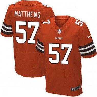Men's Cleveland Browns #57 Clay Matthews Orange Alternate NFL Nike ...