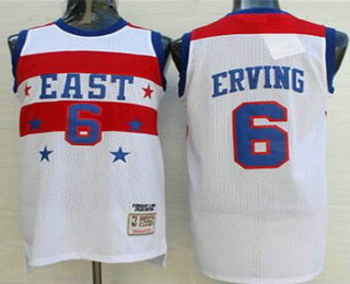 NBA 1980 All-Star Men's #6 Julius Erving White Hardwood Classics Soul Swingman Throwback Jersey