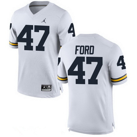Men's Michigan Wolverines #47 Gerald Ford White Stitched College Football Brand Jordan NCAA Jersey