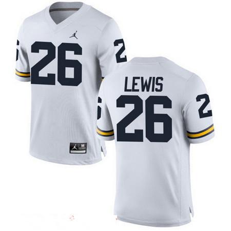 Men's Michigan Wolverines #26 Jourdan Lewis White Stitched College Football Brand Jordan NCAA Jersey
