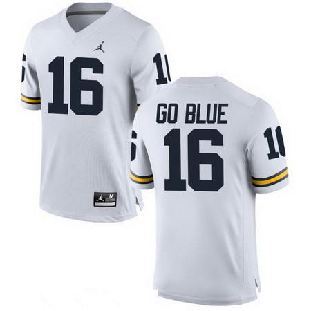 Men's Michigan Wolverines #16 GO BLUE White Stitched College Football Brand Jordan NCAA Jersey
