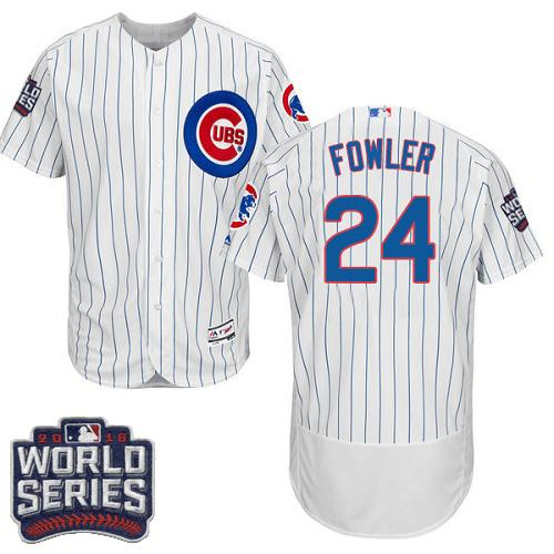 Cubs #24 Dexter Fowler White Flexbase Authentic Collection 2016 World Series Bound Stitched MLB Jersey