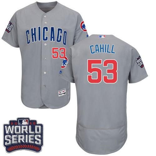 Cubs #53 Trevor Cahill Grey Flexbase Authentic Collection Road 2016 World Series Bound Stitched MLB Jersey