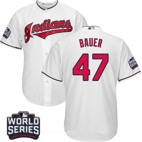 Men's Cleveland Indians #47 Trevor Bauer White Home 2016 World Series Patch Stitched MLB Majestic Cool Base Jersey