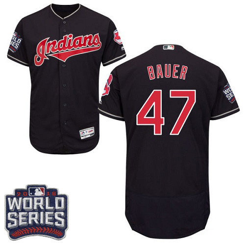 Men's Cleveland Indians #47 Trevor Bauer Navy Blue 2016 World Series Patch Stitched MLB Majestic Flex Base Jersey