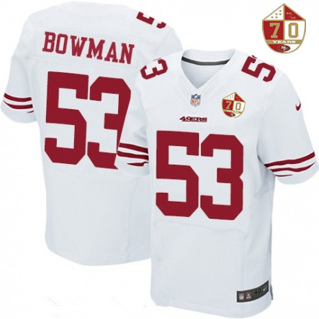 Men's San Francisco 49ers #92 Quinton Dial White 70th Anniversary Patch Stitched NFL Nike Elite Jersey